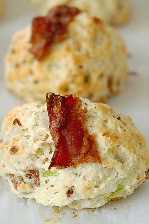 blue cheese bacon scones on baking sheet
