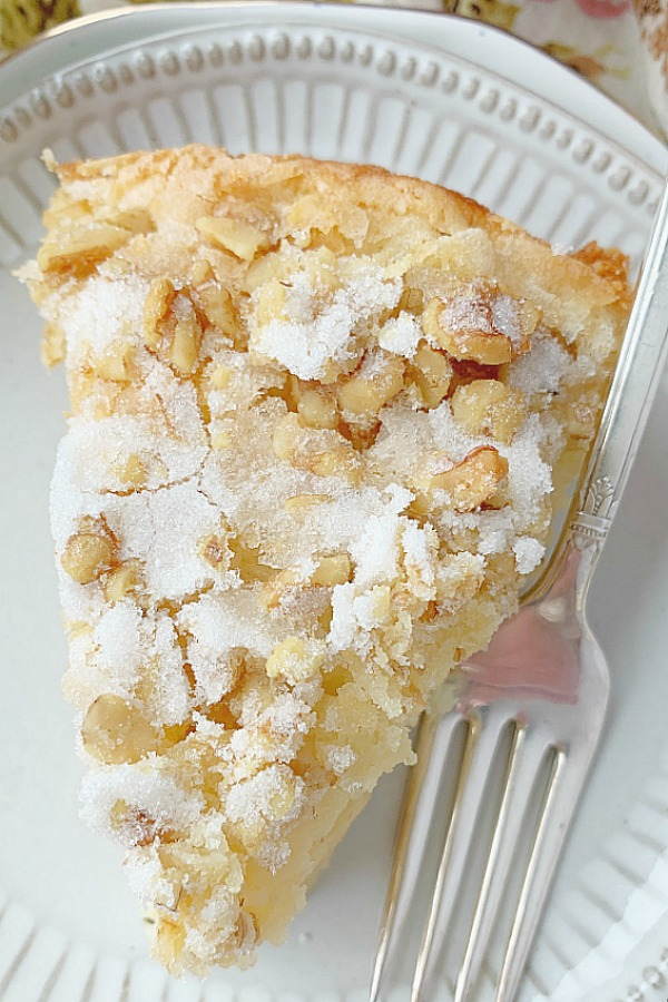 slice of french country apple cake on plate
