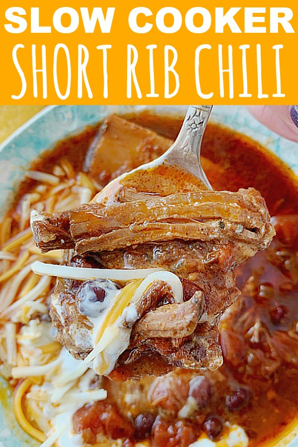 Slow Cooker Short Rib Chili | Foodtastic Mom #chilirecipes #chilirecipescrockpot #shortribsrecipe