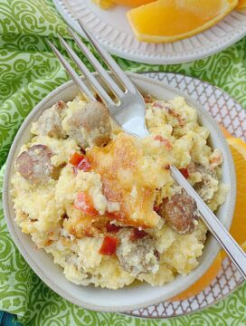 bowl of loaded grits breakfast casserole