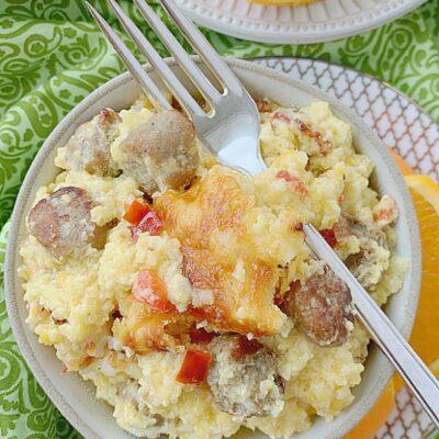 bowl of loaded grits breakfast casserole