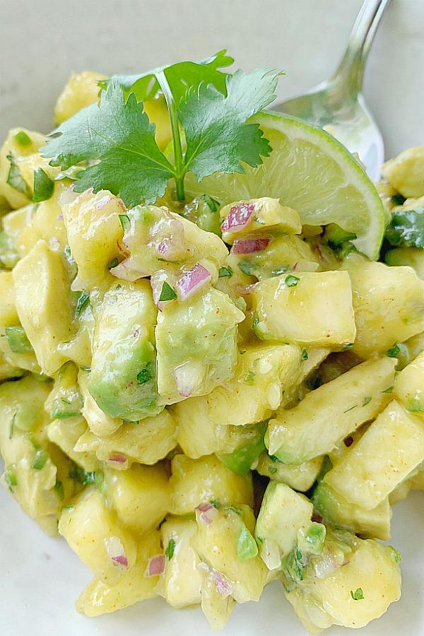 bowl of fresh pineapple salsa