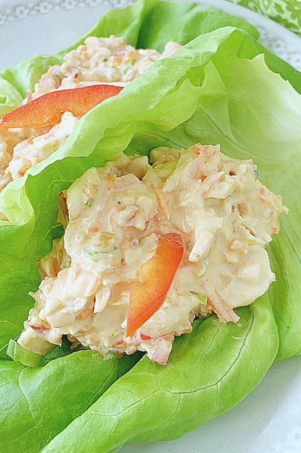 close up of thai chicken salad lettuce wraps