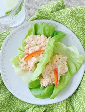 overhead view of thai chicken salad lettuce wraps on plate