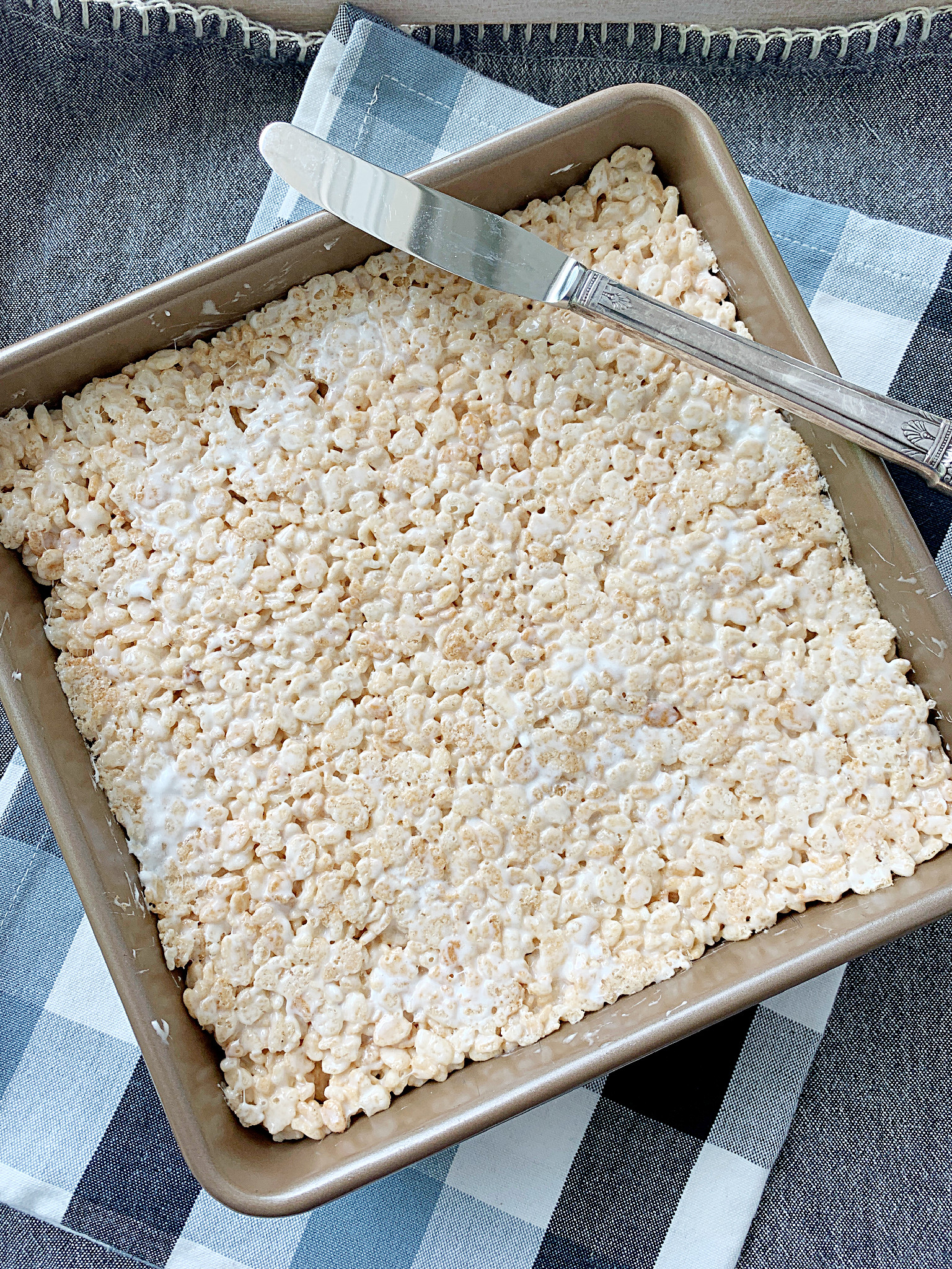 rice krispie treats in the pan