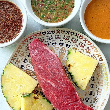 steak with fresh pineapple and three marinades