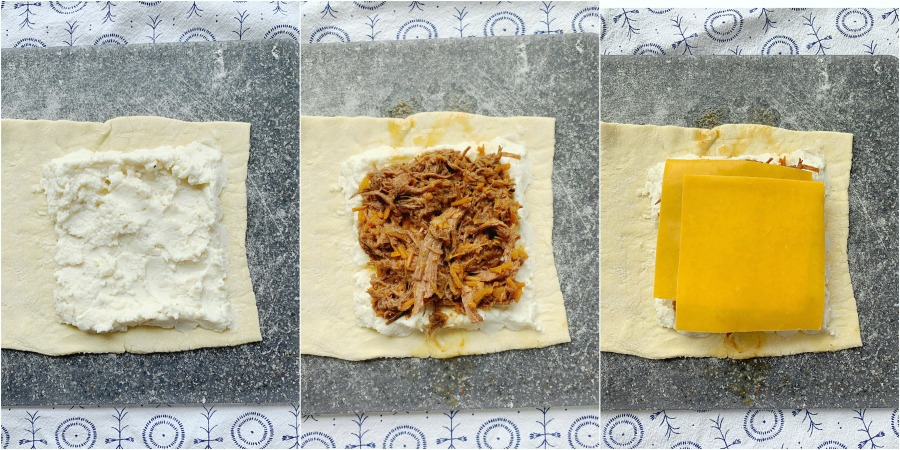 collage of how to assemble pot roast pockets