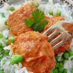 indian chicken meatball on a fork