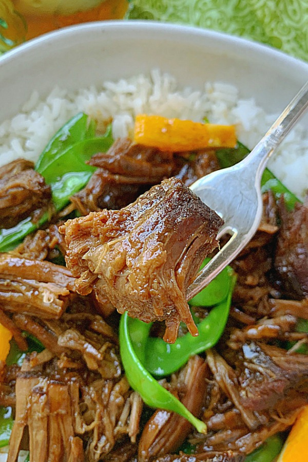 crispy crockpot orange beef fork