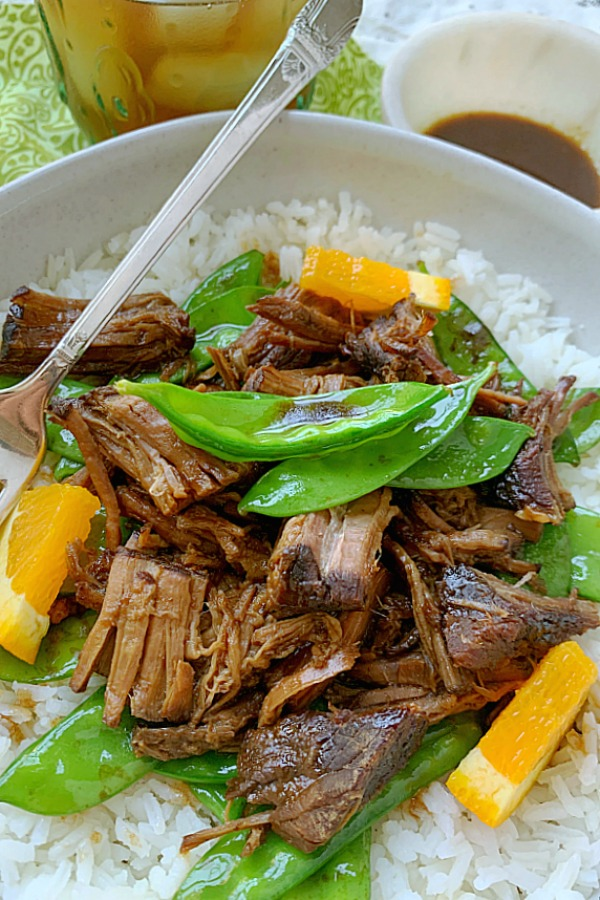 crispy crockpot orange beef overhead view