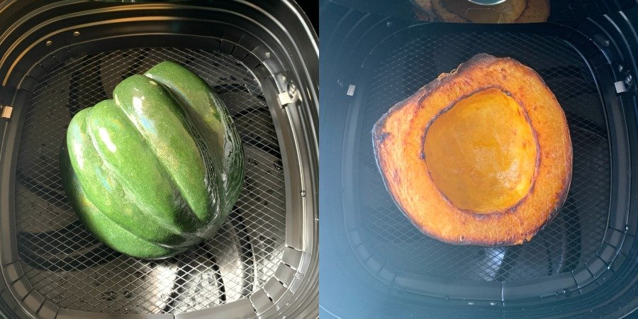 collage of air fryer acorn squash