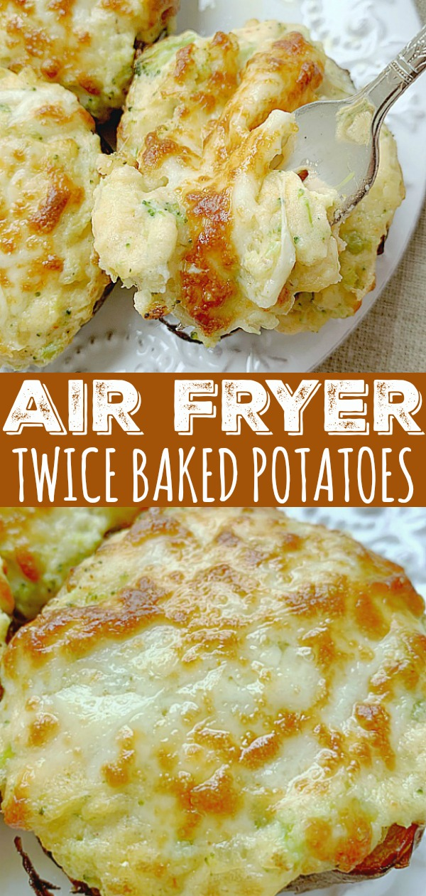 Air Fryer Twice Baked Potatoes | Foodtastic Mom #airfryerrecipes #twicebakedpotatoes