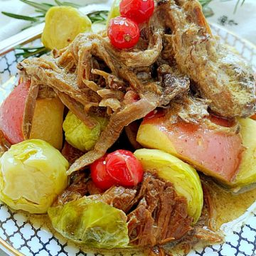 cranberry pot roast with potatoes and Brussels sprouts