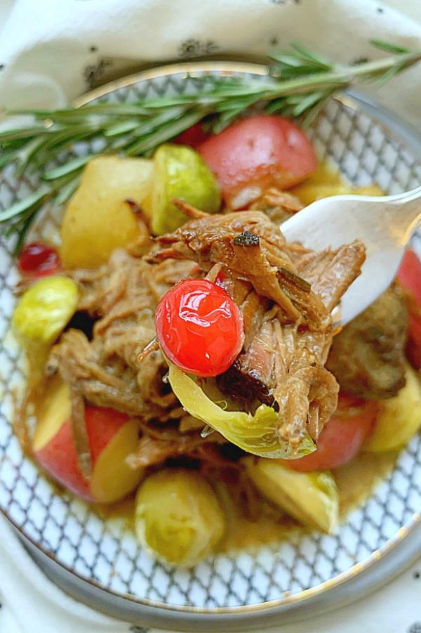 forkful of cranberry pot roast