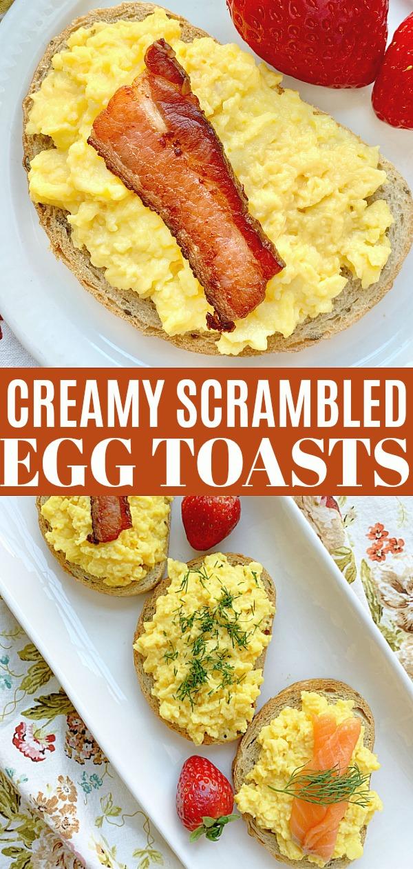 Creamy Scrambled Egg Toasts | Foodtastic Mom #ad #ohioeggs #eggrecipes #eggs