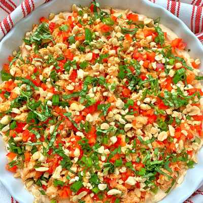 overhead view of thai chili chicken dip