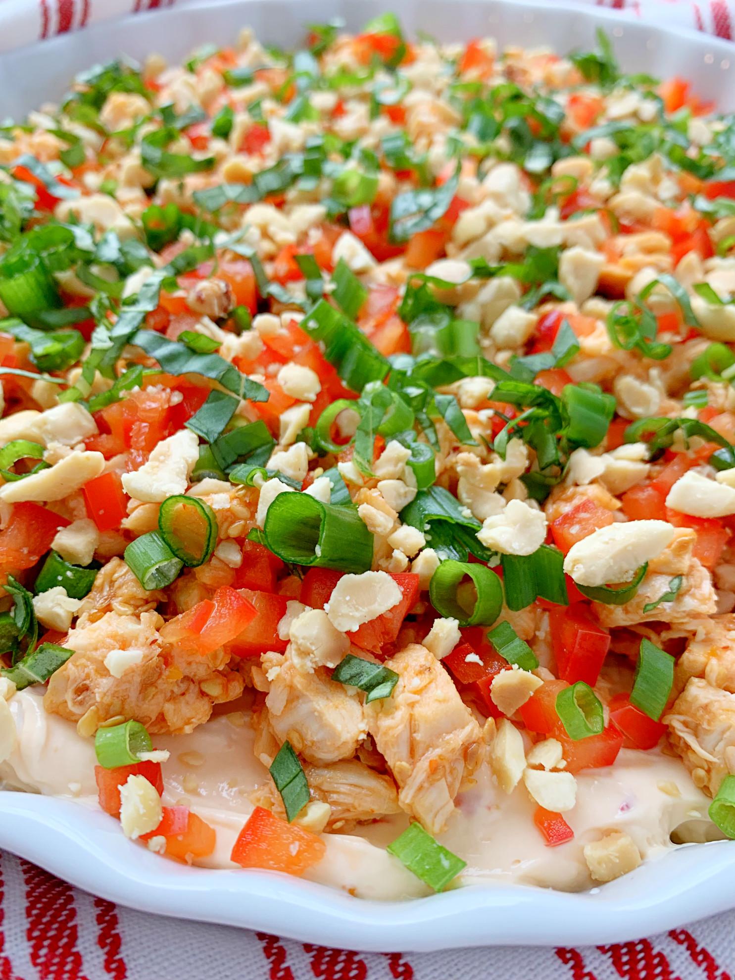 close up view of thai chili chicken dip