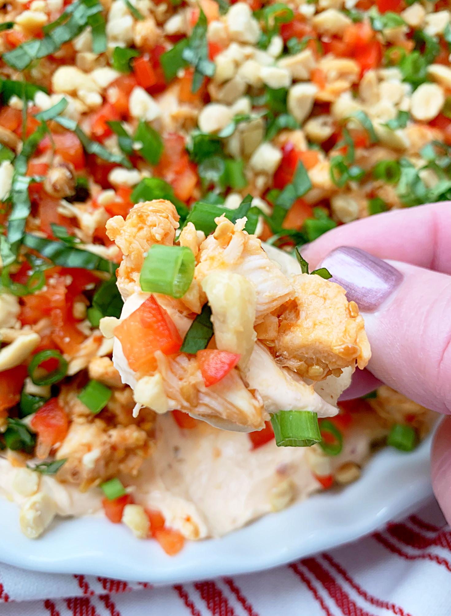 thai chicken dip with cracker