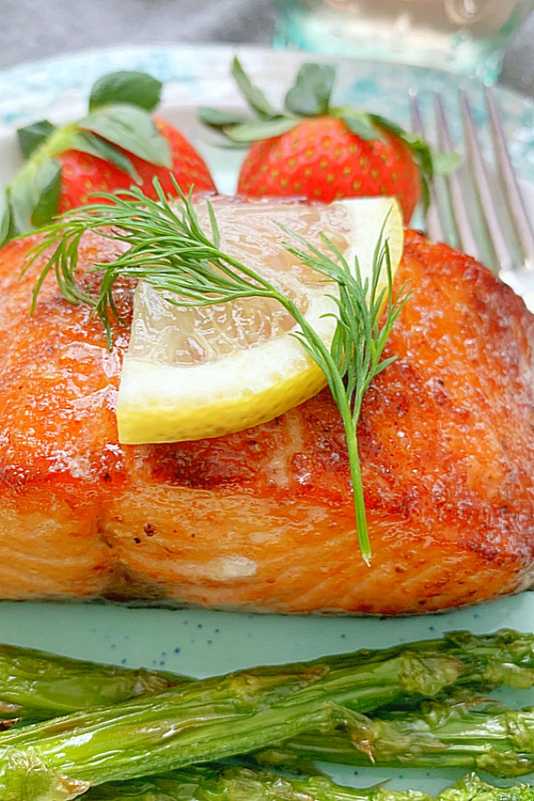 side view of air fryer salmon