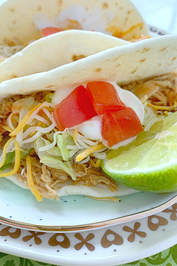 close up of crockpot chicken taco