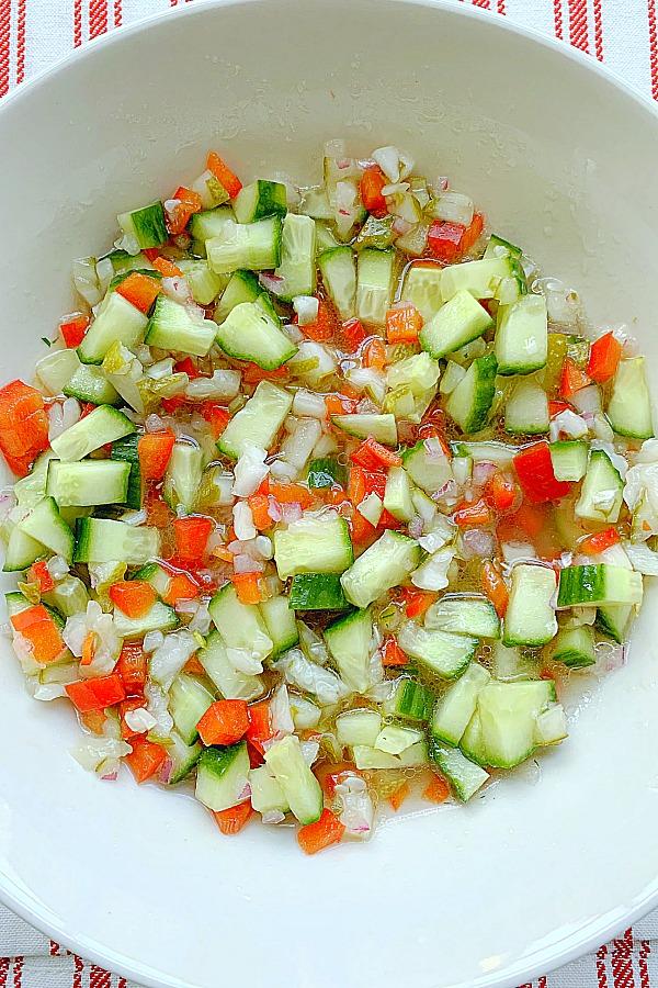 bowl full of pickle bruschetta