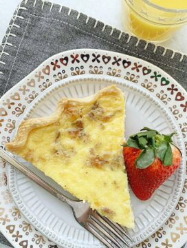 overhead view of quiche slice on plate