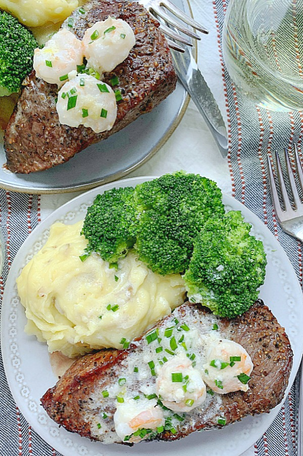 air fryer steak with shrimp cream sauce