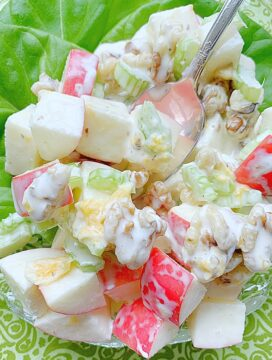 apple salad on plate with lettuce