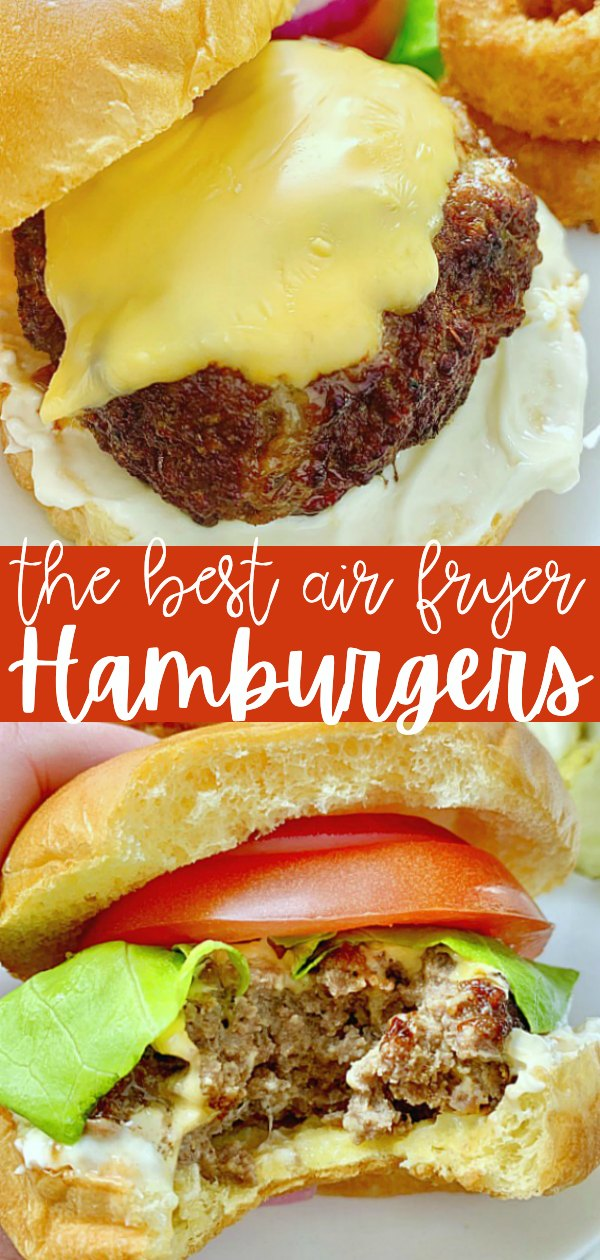 Air Fryer Burgers | Foodtastic Mom #airfryerrecipes #burgerrecipes #airfryerburgers #airfryercheeseburgers #cheeseburgerrecipes via @foodtasticmom