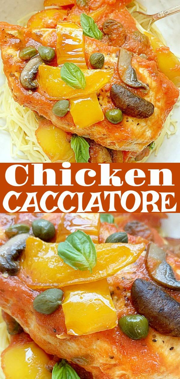 Chicken Cacciatore | Foodtastic Mom #chickenrecipes #chickencacciatore