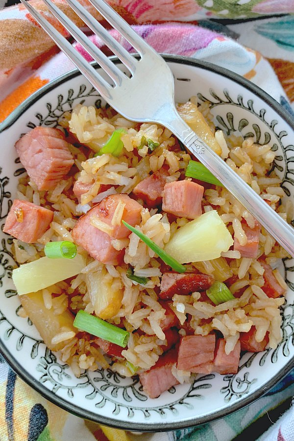 fried rice with ham and pineapple