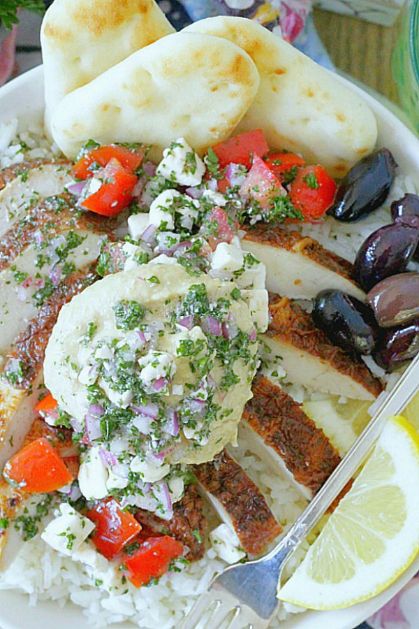 greek chicken rice bowls