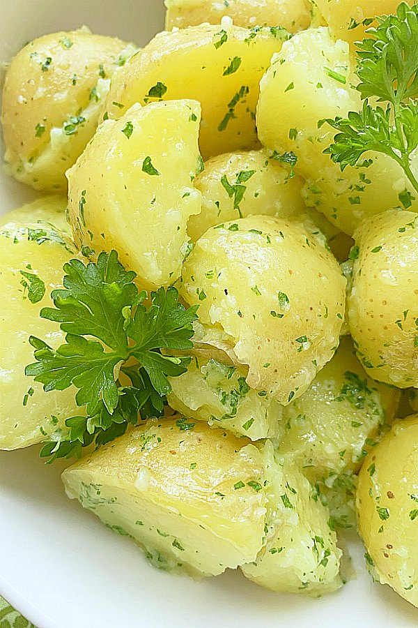 close up view of parsley potatoes