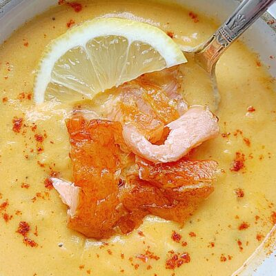 salmon chowder in a bowl