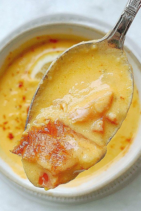spoonful of smoked salmon chowder