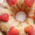 overhead view of strawberry bundt cake