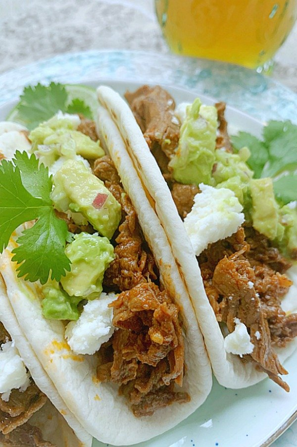 close up of steak tacos