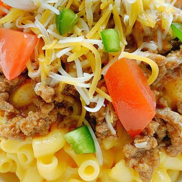 close up of taco mac and cheese