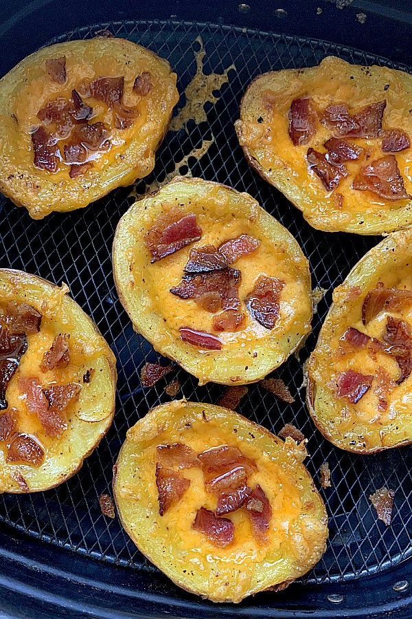 cooked potato skins in the air fryer basket