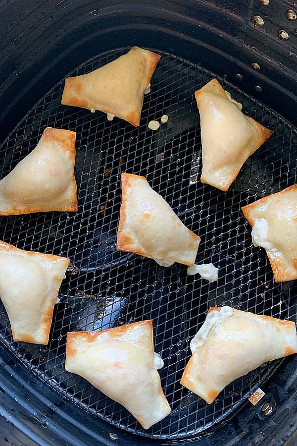 Crab Rangoon in the air fryer basket