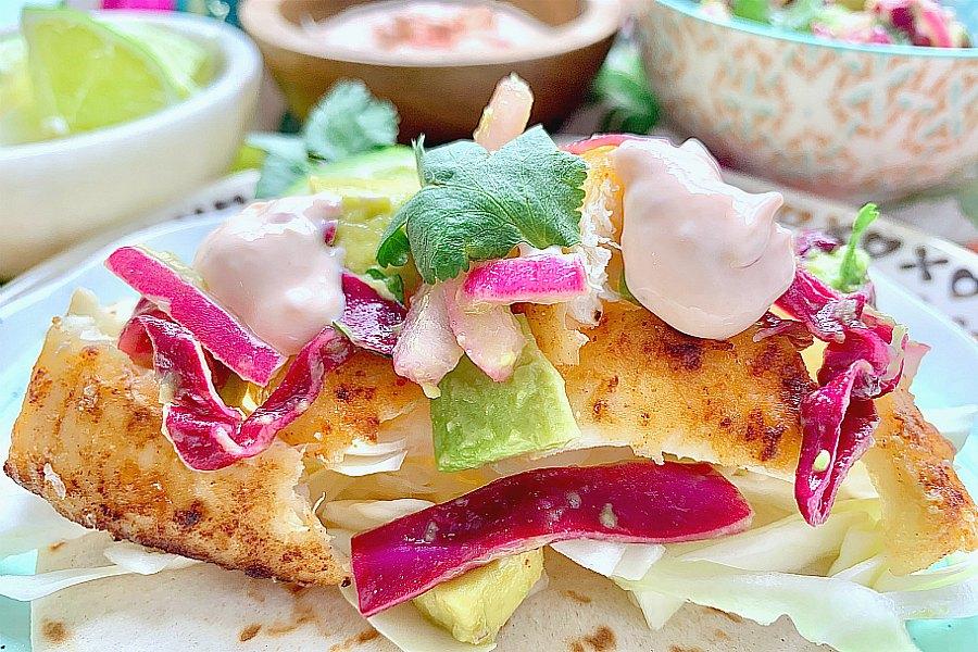 baja fish taco on a plate