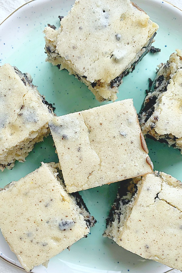 top view of oreo cheesecake squares