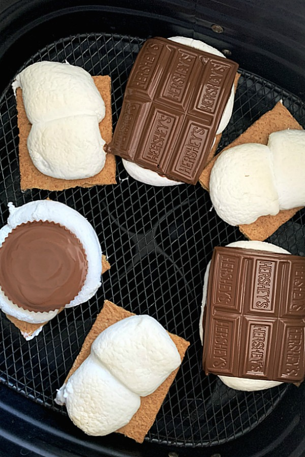 open face air fryer s'mores in the air fryer basket