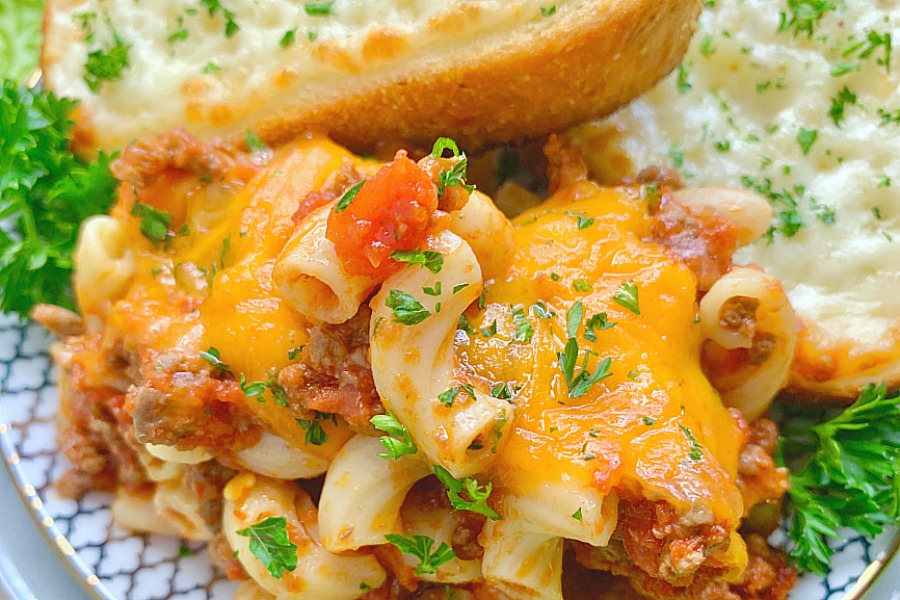 johnny marzetti casserole on a plate