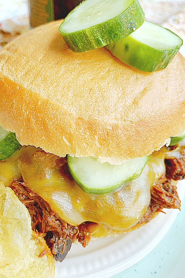 barbecue pulled beef sandwich