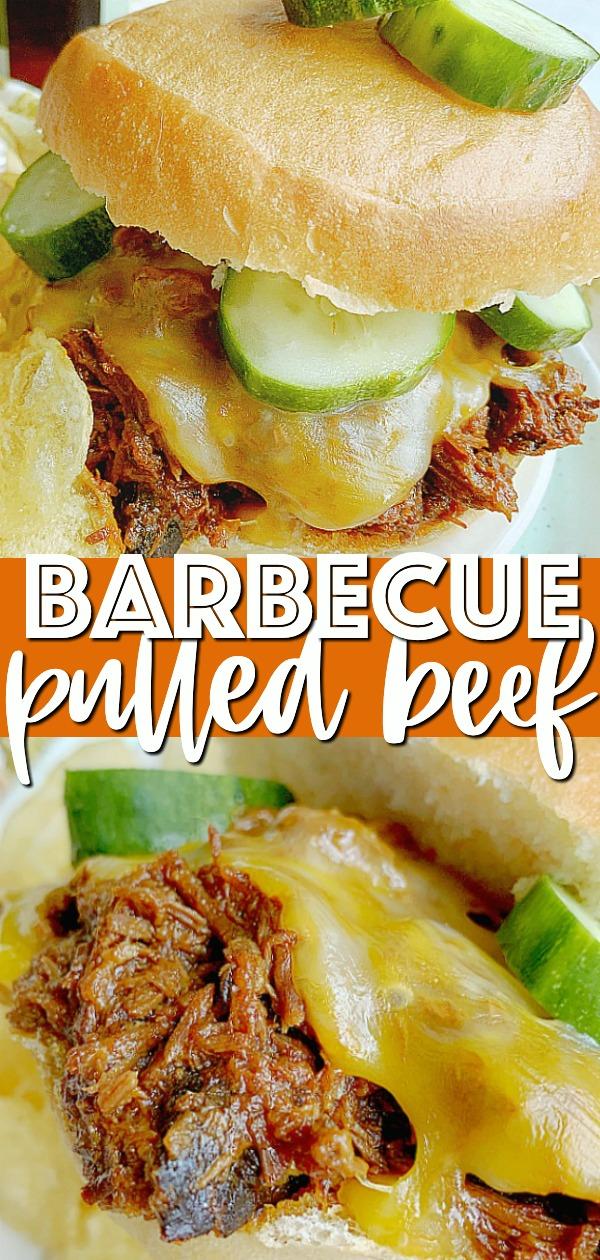 Barbecue Pulled Beef | Foodtastic Mom #pulledbeefcrockpotrecipes #pulledbeef #pulledbeefslowcooker