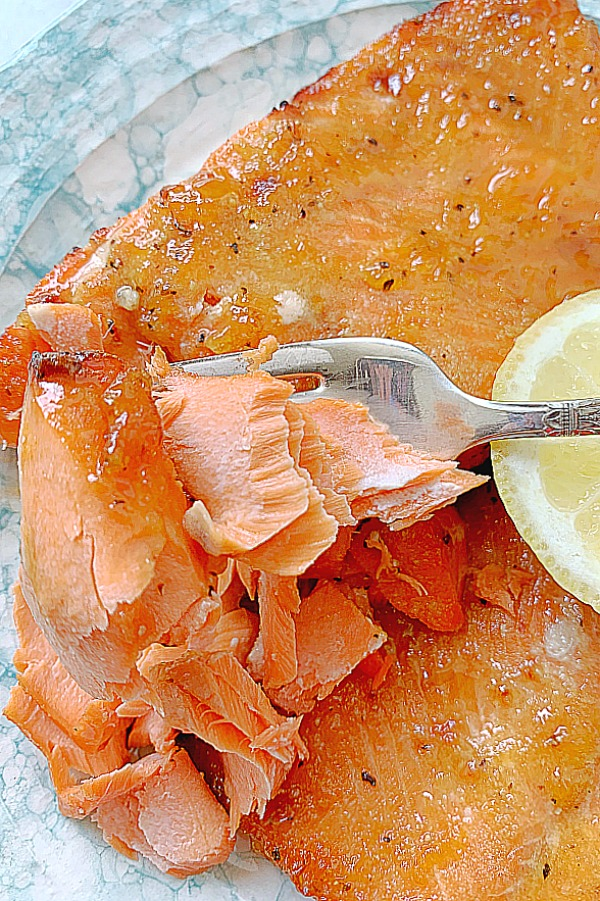 cooked salmon being flaked with a fork