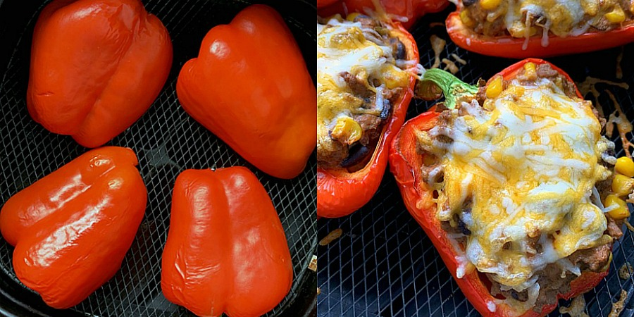 showing peppers in the air fryer basket - both plain and stuffed