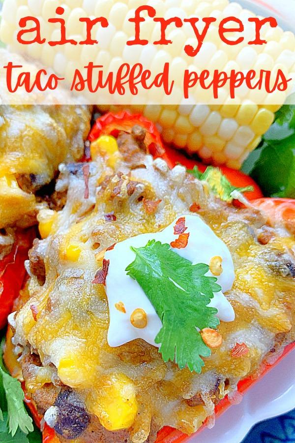 Air Fryer Stuffed Peppers | Foodtastic Mom #airfryerrecipes #stuffedpeppers #airfryerstuffedpeppers