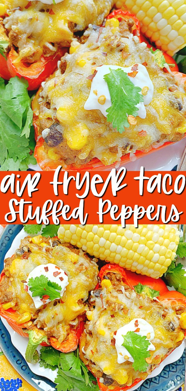 Air Fryer Stuffed Peppers | Foodtastic Mom #airfryerrecipes #stuffedpeppers #airfryerstuffedpeppers via @foodtasticmom